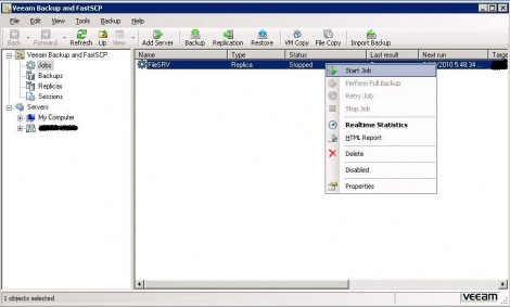 Veeam Backup & Replication consider starting the replica job to ensure it is working again