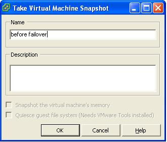 VMware vSphere give the replica snapshot a name