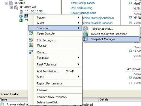 VNware ESX 4 go to snapshot manager