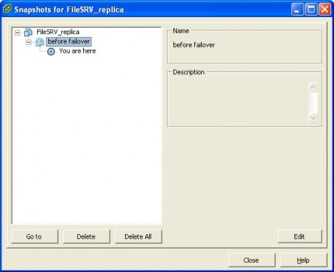 VMware ESX 4 Choose the before failover snapshot and hit goto
