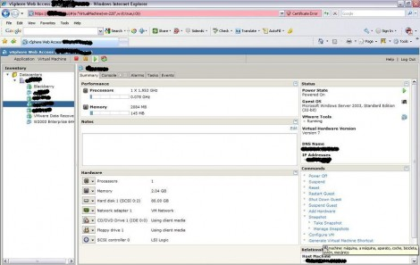 VMware ESX 4 web access summary page