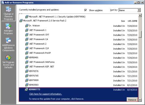 Microsoft Update KB980773 Breaks vSphere Client