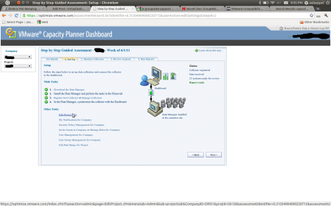 From VMware Capacity Planning Dashboard Setup choose Edit Project Info
