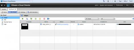 VMware vCD Blocking vApp pending processing
