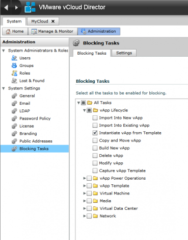 VMware vCloud Director blocking tasks