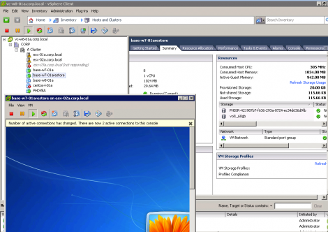 PHD Virtual Backup VM running from Backup using instant recovery