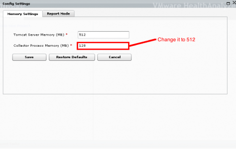 VMware Health Check analyzer increase collector memory