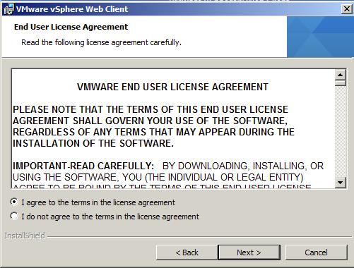 Accept VMware End User License Agreement