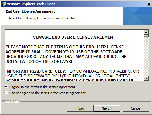 Accept VMware End User License Agreement