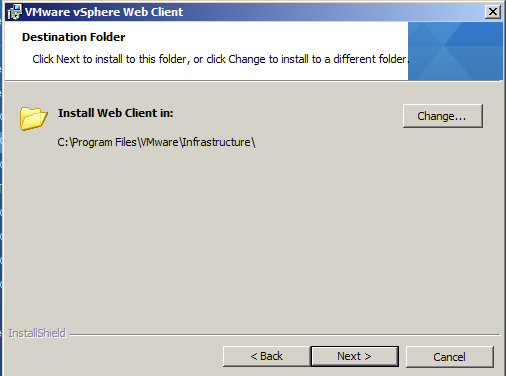 Choose the vSphere WebClient Service installation destination folder