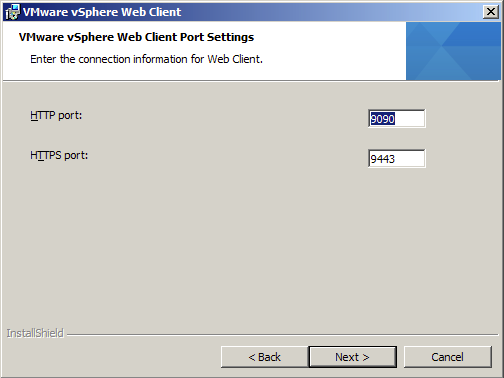 Confirm Network Ports to be used with vSphere Web Client