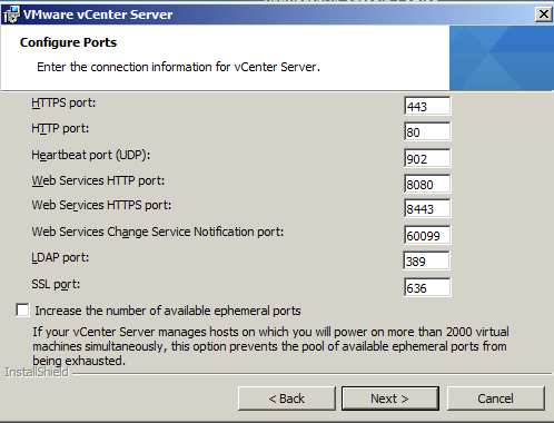 Confirm the ports to be used by VMware vCenter 5.1