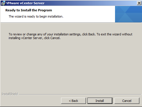 Hit install to start vCenter 5.1 installation