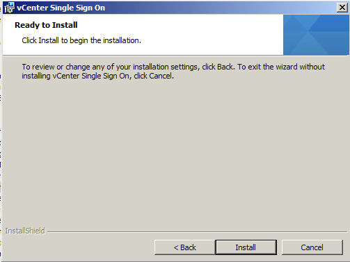 Click install on the vSphere Single Sign on ready to install page
