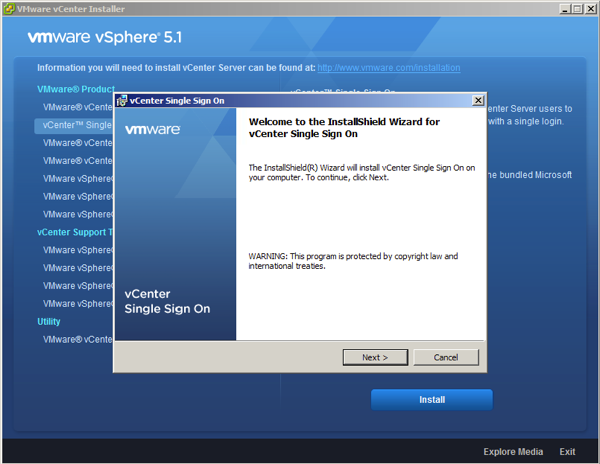 Continue with the vSphere SSO installation Wizard