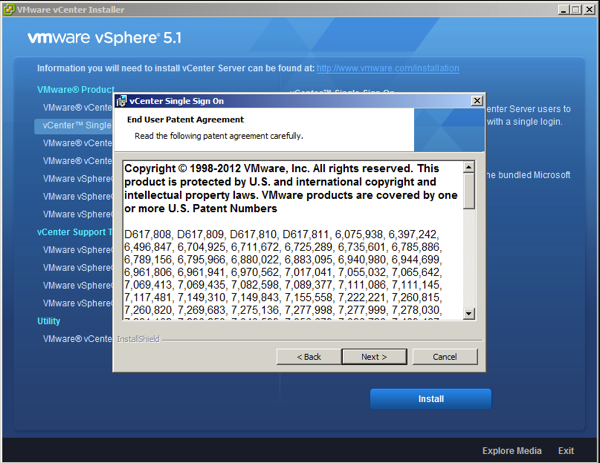 On the vSphere Single Sign On Wizard accept VMware Patents