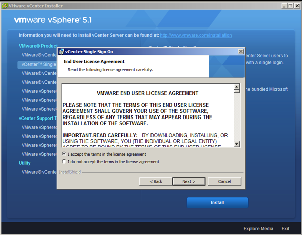 On vCenter 5.1 SSO installation wizard accept the license agreement