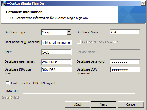 Fill the vCenter 5.1 Single Sign On Database Information