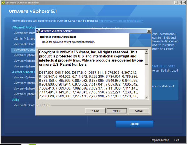 On VMware Patent Screen Click next to accept