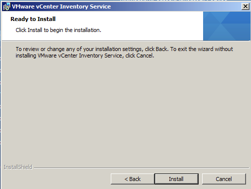 On vCenter Inventory Service Ready to install Page hit install