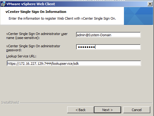 Register vSphere Web Client with Single Sign On