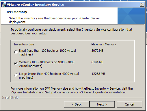 Select the inventory size that best describe your vCenter Server Deployment