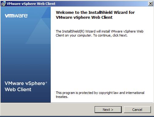 Start vSphere Web Client Installation