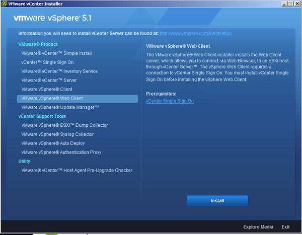 VMware vSphere 5.1 vCenter Installer