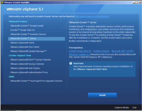 vCenter 5.1 Server Installation Wizard