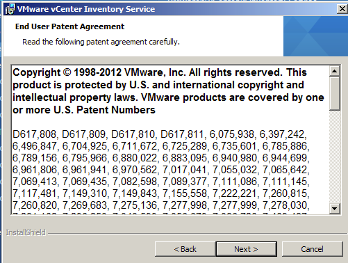 vCenter Inventory Service Accept Patents