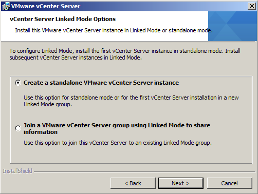 vCenter Server Linked Mode Options