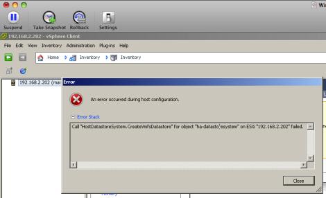 "Call ""HostDatastoreSystem.CreateVmfsDatastore"" for object ""ha-datastoresystem"" on ESXi ""192.168.2.202"" failed."