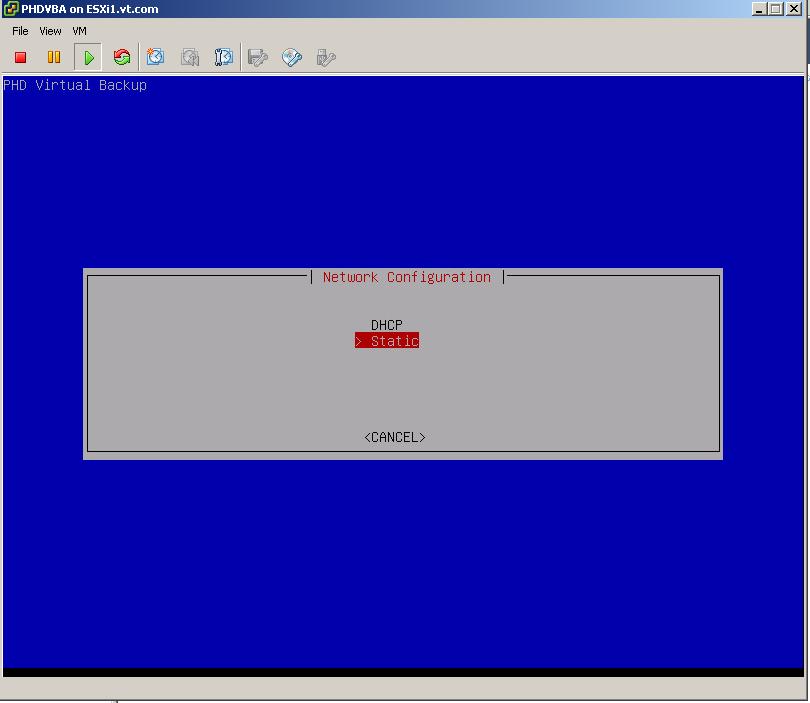 PHD Virtual Backup 6.5 Network configuration Screen