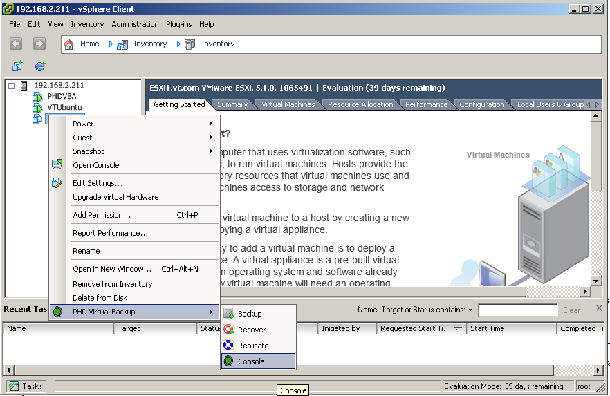 Accessing the configuration console of phdvirtual