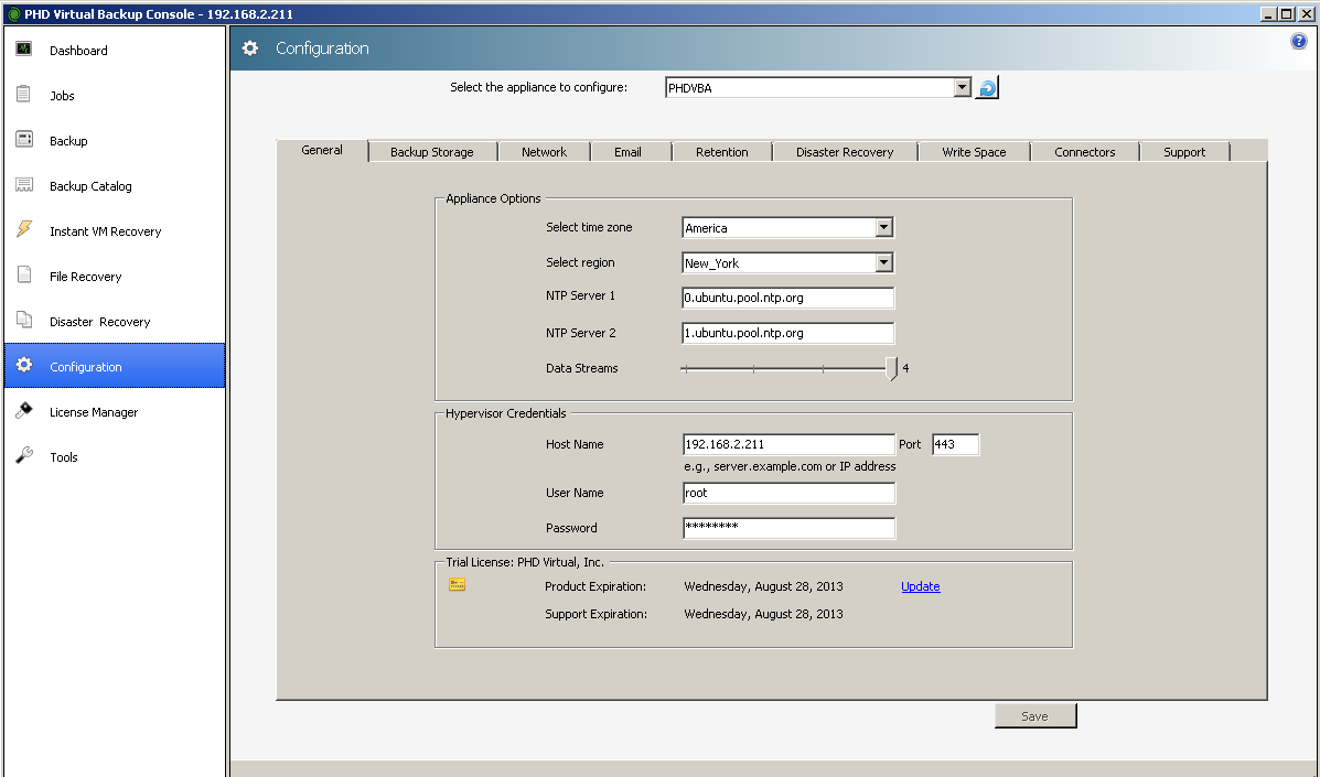 Configure your Hypervisor IP & Credentials in PHD Virtual backup Console