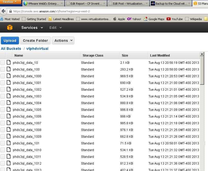 My backedup VMs at Amazon S3