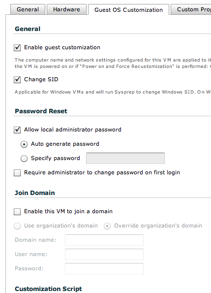 vCD Guest Customization joining Domain