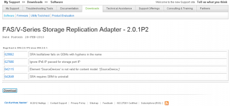 NetApp SRM SRA 2.0.1P2