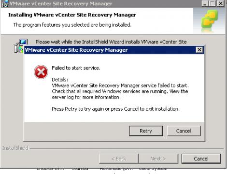 SRM Service failed to start error