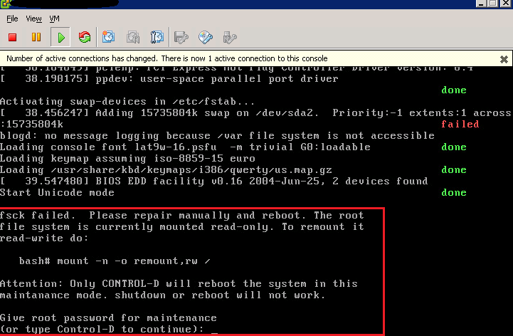 VMware vCSA fsck failed