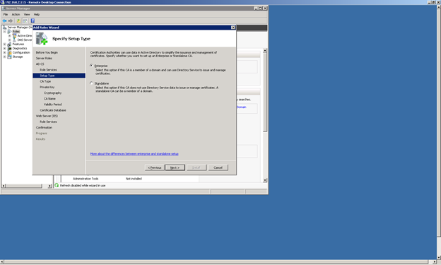 Microsoft CA - Choose Enterprise Setup at the Setup Type Page