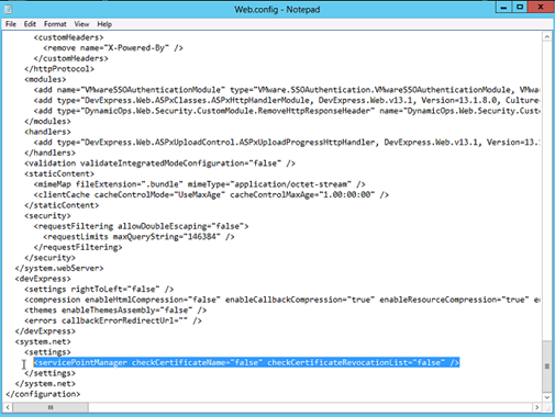 vCloud Automation Web.config Check Certificate Revocation