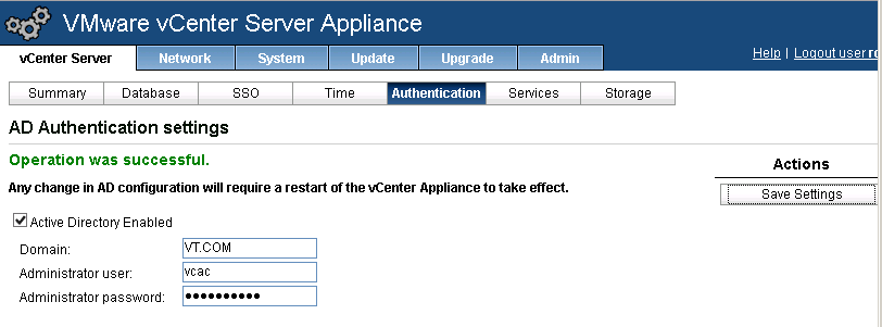 You actually need to restart the appliance after configuring AD