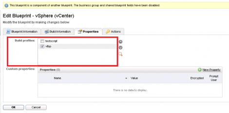 vcac adding property dictionary build profile to blueprint