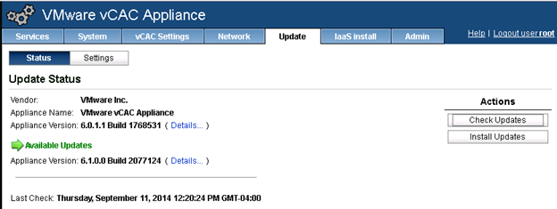vCloud Automation Center Appliance check for update