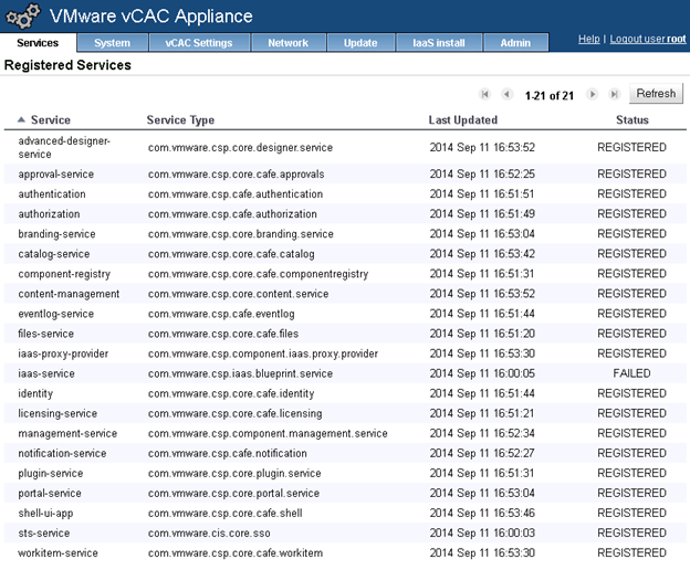 vCAC 6.1 Appliance Registered Services