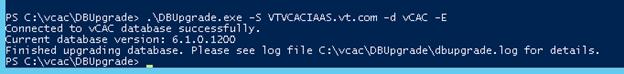 VCAC 6.1 upgrade Database