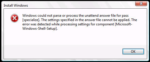 Windows could not parse or process the unattend answer file or pass [specialize]