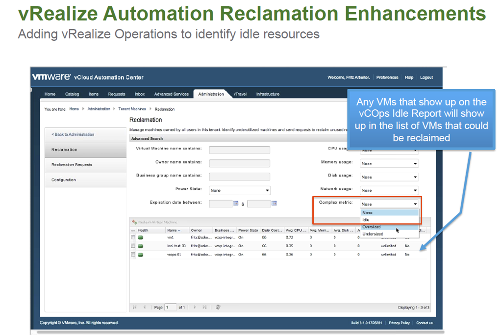 vCloud Automation Center Identify idle - oversized - undersized VMs