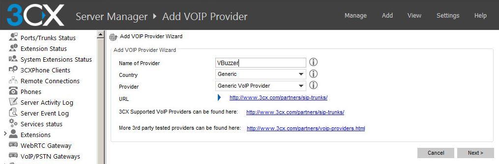 3CX add VBuzzer as a VOIP Provider